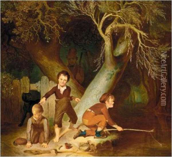 Young Boys Fishing Oil Painting - Sir David Wilkie