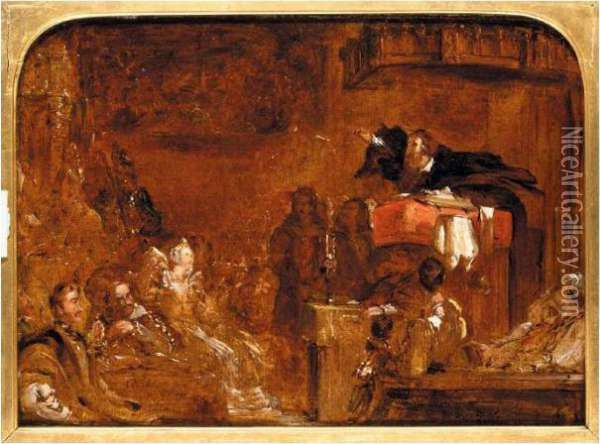 John Knox Preaching To Mary Queen Of Scots Oil Painting - Sir David Wilkie