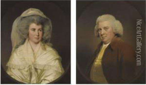 Portrait Of Hugh Wood, Of Swanwick Hall, Derbyshire; And Portraitof Mary Wood, His Wife Oil Painting - Josepf Wright Of Derby