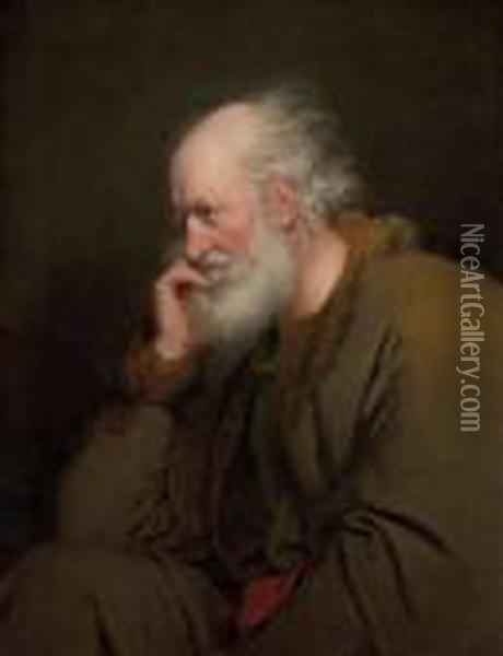 Study Of An Old Man Oil Painting - Josepf Wright Of Derby