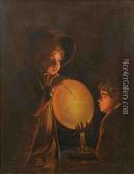 Two Boys By Candlelight, Blowing A Bladder Oil Painting - Josepf Wright Of Derby