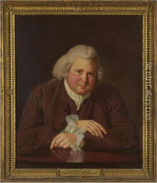 Portrait Of Erasmus Darwin (1731-1802) Oil Painting - Josepf Wright Of Derby