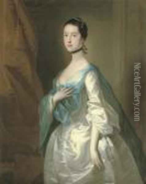 Portrait Of A Lady Oil Painting - Josepf Wright Of Derby