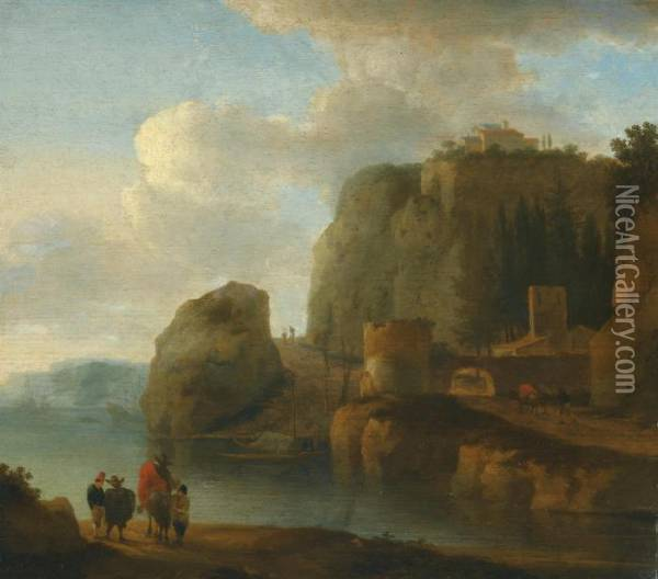A Rocky River Landscape With Travellers In The Foreground And Ships Beyond Oil Painting - Jan Asselyn