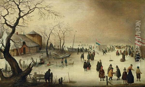 Winterlandschaft Oil Painting - Hendrick Avercamp