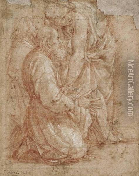 A Young Man Attending An Older Kneeling Man Oil Painting - Giovanni Baglione