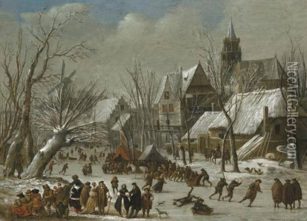 A Winter Landscape With Figures On A Frozen Canal Oil Painting - Gerrit Van Battem