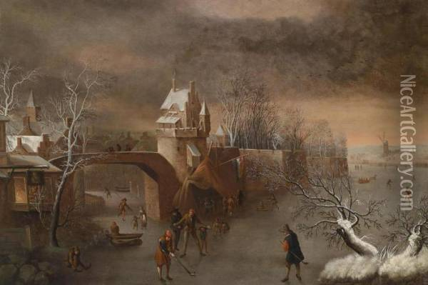 Skaters Near A Town Wall Oil Painting - Anthonie Beerstraten