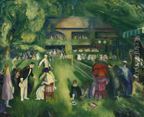 Tennis At Newport Oil Painting - George Wesley Bellows