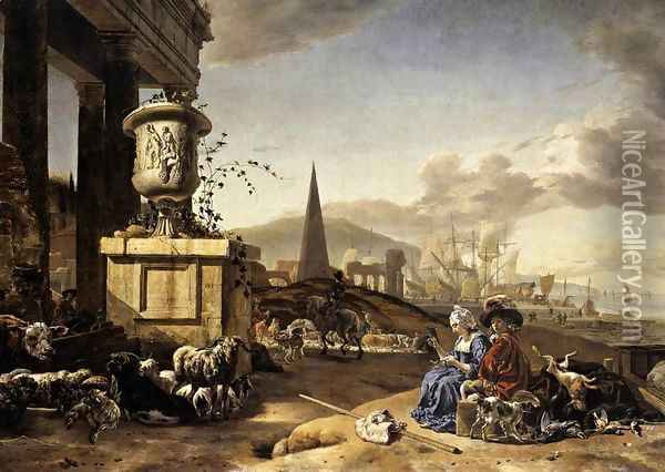 An Italian Seaport c. 1666 Oil Painting - Jan Weenix