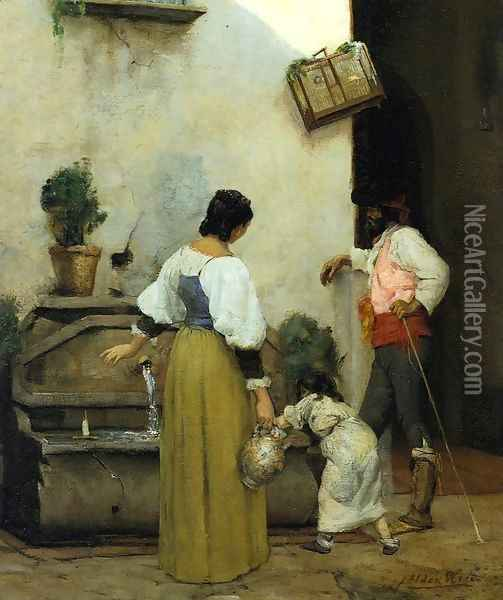 At the Water Trough Oil Painting - Julian Alden Weir