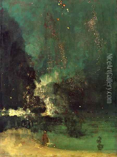 Nocturne in Black and Gold, The Falling Rocket Oil Painting - James Abbott McNeill Whistler