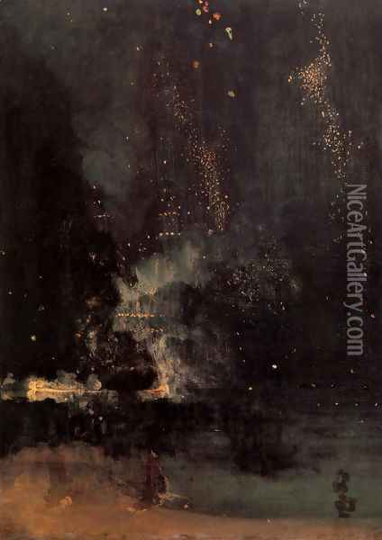 Nocturne in Black and Gold- The Falling Rocket 1875 Oil Painting - James Abbott McNeill Whistler