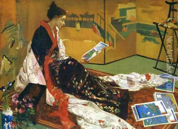Caprice in Purple and Gold, The Golden Screen Oil Painting - James Abbott McNeill Whistler