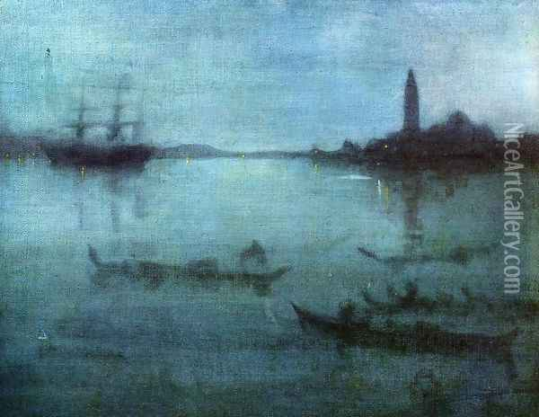 Nocturne in Blue and Silver, The Lagoon, Venice Oil Painting - James Abbott McNeill Whistler