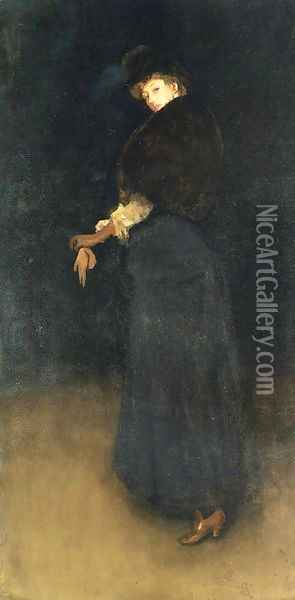 Arrangement in Black- The Lady in the Yellow Buskin- Portrait of Lady Archibald Campbell 1882-84 Oil Painting - James Abbott McNeill Whistler