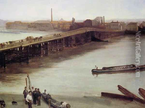 Brown and Silver: Old Battersea Bridge Oil Painting - James Abbott McNeill Whistler