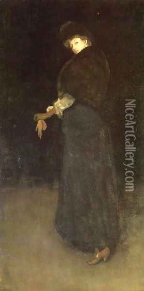 Arrangement in Black: The Lady in the Yellow Buskin Oil Painting - James Abbott McNeill Whistler
