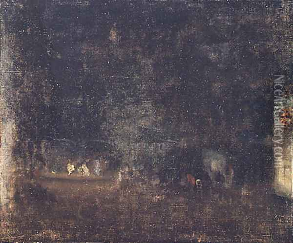 Nocturne in Green and Gold 1877 Oil Painting - James Abbott McNeill Whistler