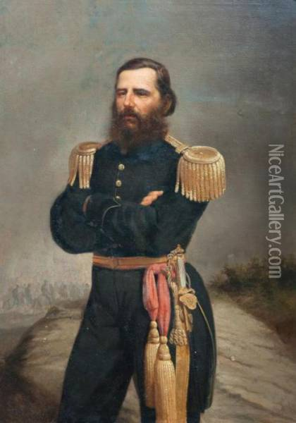 Coronel Cipriano Cames Oil Painting - Juan Manuel Blanes