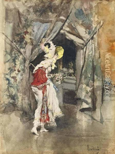 An Elegant Woman In An Interior Oil Painting - Giovanni Boldini