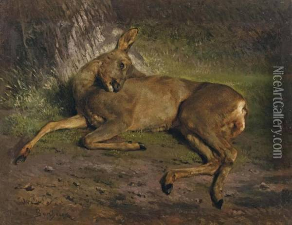 A Roe Deer In The Forest Oil Painting - Rosa Bonheur