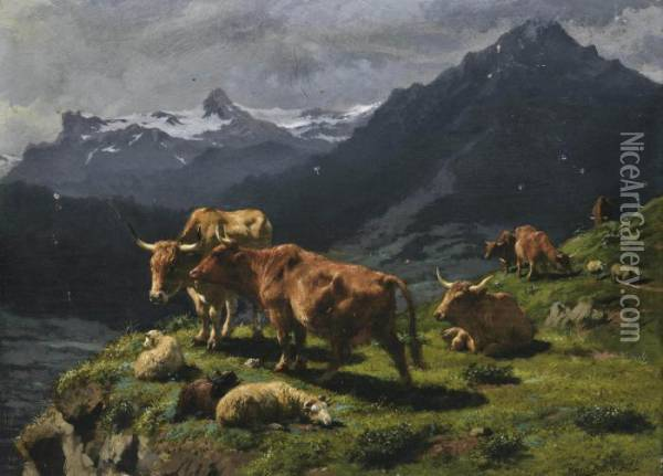 Cattle And Sheep In An Alpine Landscape Oil Painting - Rosa Bonheur