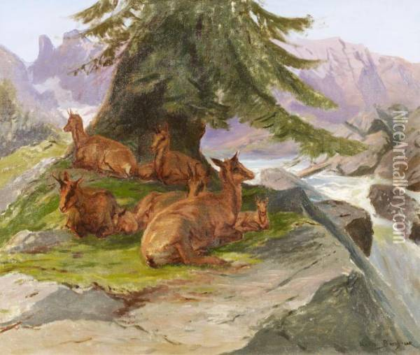 Mountain Goats In The Mountains Oil Painting - Rosa Bonheur