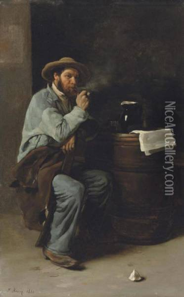 A Man In An Interior Smoking A Pipe Oil Painting - Francois Bonvin