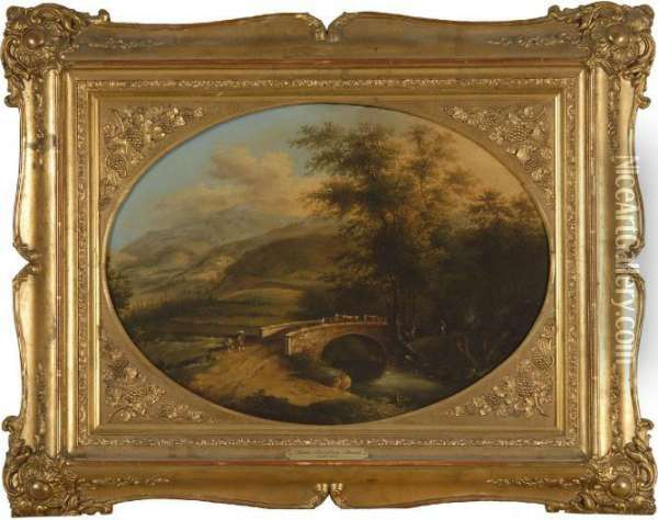 Rural Landscape With Peasant Figures And Cattle At A Bridge Oil Painting - Jan Both