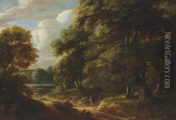 A Wooded Landscape With Travellers On A Track Conversing Oil Painting - Adriaen Frans Boudewijns
