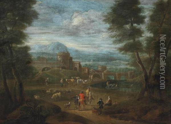 An Extensive River Landscape With Travellers Outside A Fortified Town Oil Painting - Adriaen Frans Boudewijns