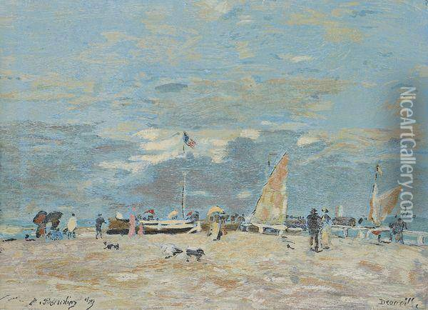 Plage A Deauville Oil Painting - Eugene Boudin