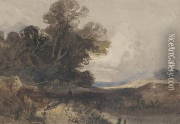 A Traveller In An Extensive Wooded Landscape Oil Painting - Thomas Shotter Boys