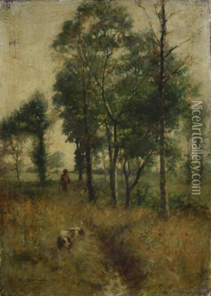 A Walk Through The Meadow Oil Painting - William Mason Brown