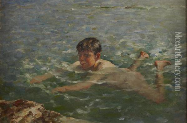 Swimming Off The Rocks Oil Painting - William Mason Brown