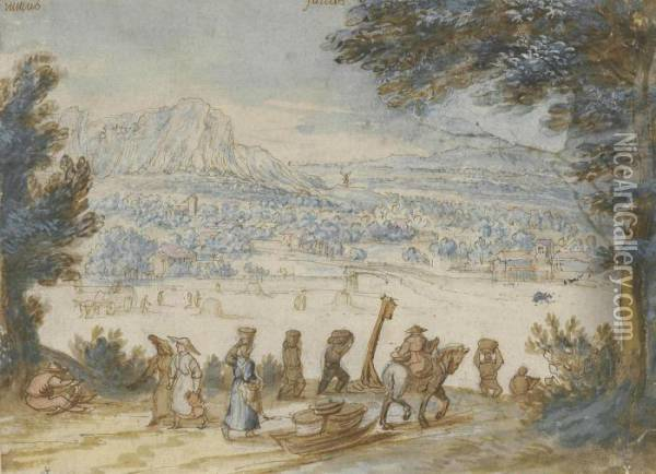 The Month Of July: An Extensive  Wooded Landscape With Haymakers In A Meadow And Travellers On A Path In  The Foreground Oil Painting - Jan The Elder Brueghel