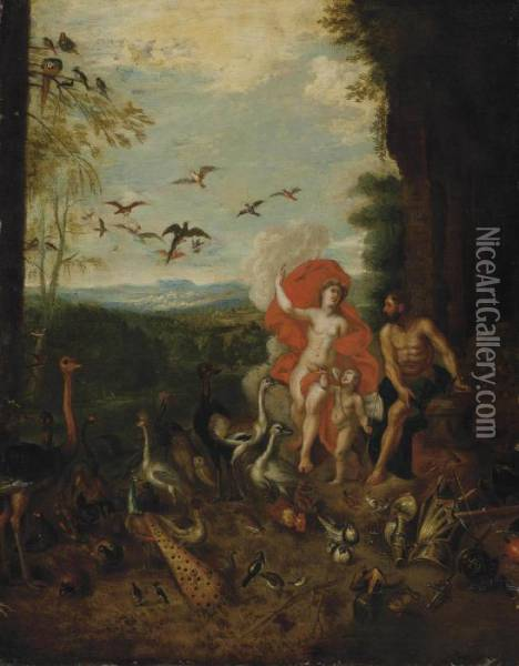 An Allegory Of Air And Fire Oil Painting - Jan Brueghel the Younger