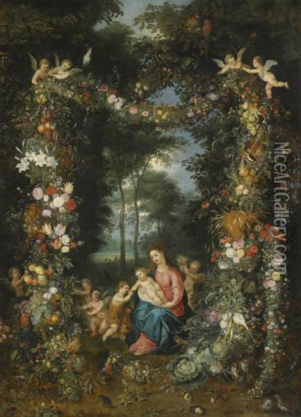 The Virgin And Child With The Infant Saint John The Baptist Oil Painting - Jan Brueghel the Younger