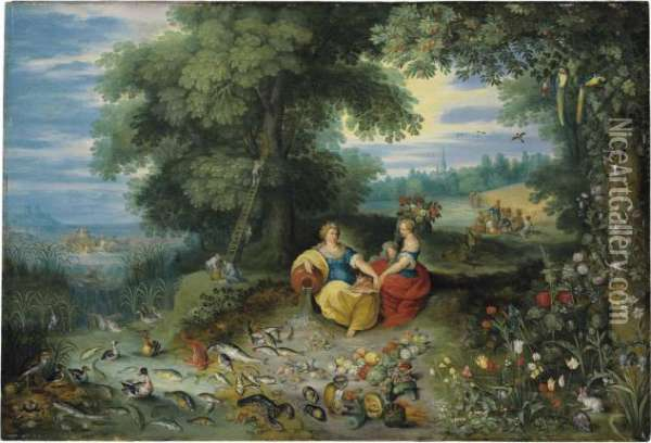 An Allegory Of Water And Earth Oil Painting - Jan Brueghel the Younger