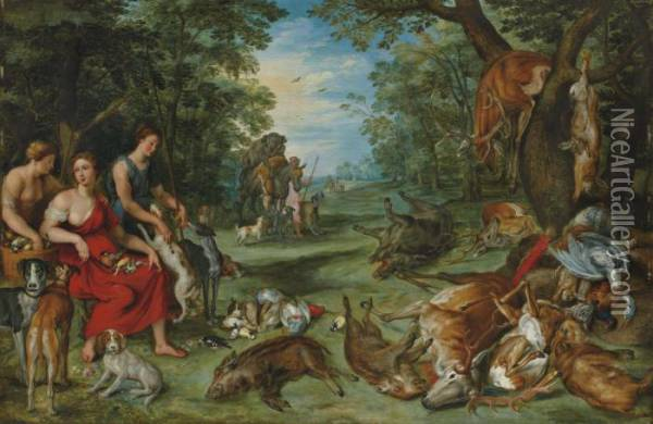 Diane Et Les Nymphes Au Retour De La Chasse Oil Painting - Jan Brueghel the Younger