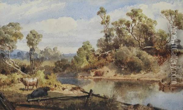 Cattle By The Stream Oil Painting - Abraham Louis Buvelot