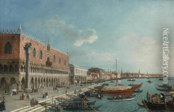 The Grand Canal From Palazzo Balbi To The Rialto Bridge Oil Painting - (Giovanni Antonio Canal) Canaletto