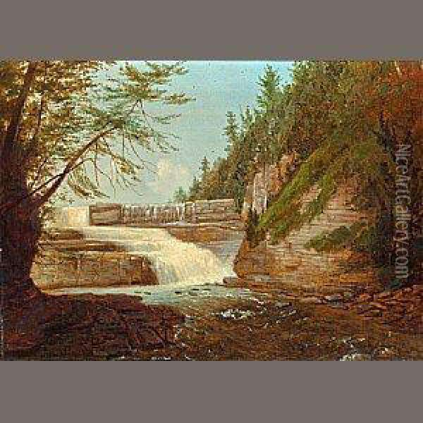 View Of High Fall, Trenton Falls Oil Painting - John Carlin