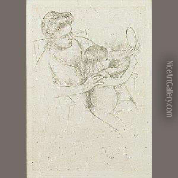 Looking Into The Hand Mirror (no. 2) Oil Painting - Mary Cassatt