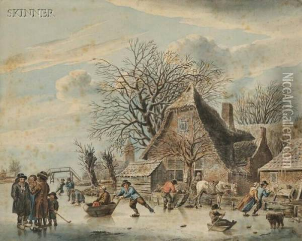 Skaters On A River Beside A Brick House Oil Painting - Jacob Cats