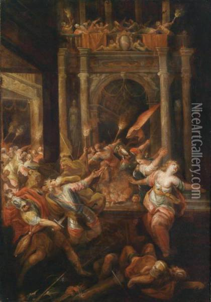 A Scene From The Trojan War: The Death Of King Priam Oil Painting - Andrea Celesti