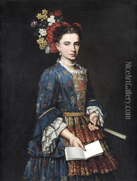 Portrait Of A Lady, Three-quarter-length, In A Blue Embroidered Dress, Holding A Fan Oil Painting - Giacomo Ceruti (Il Pitocchetto)