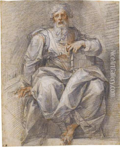 A Seated Prophet, Holding A Book Oil Painting - Giuseppe Cesari