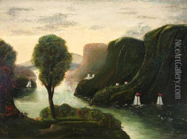Hudson River Landscape With View Of West Point Oil Painting - Thomas Chambers